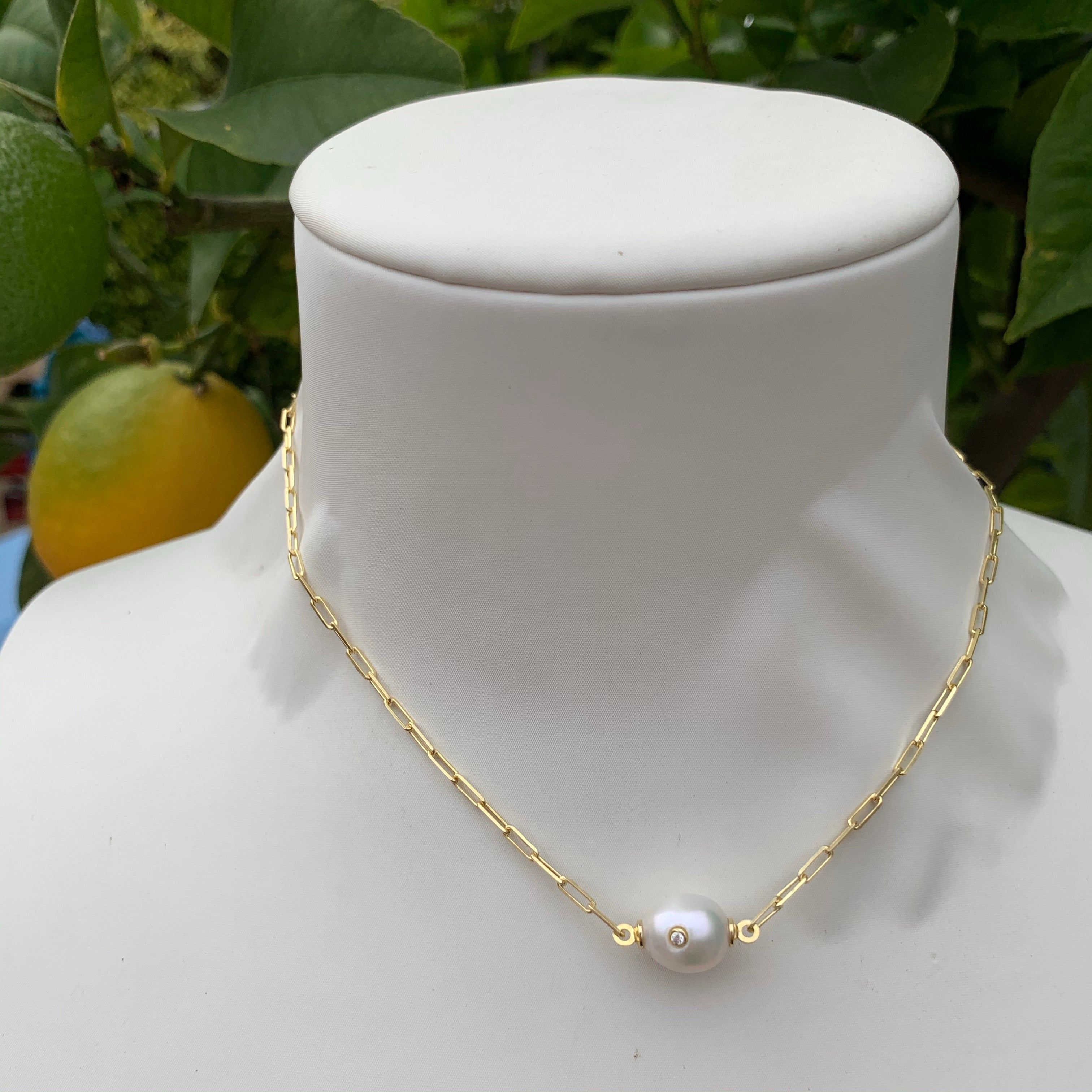 Silver gold plated fresh water pearl short necklace