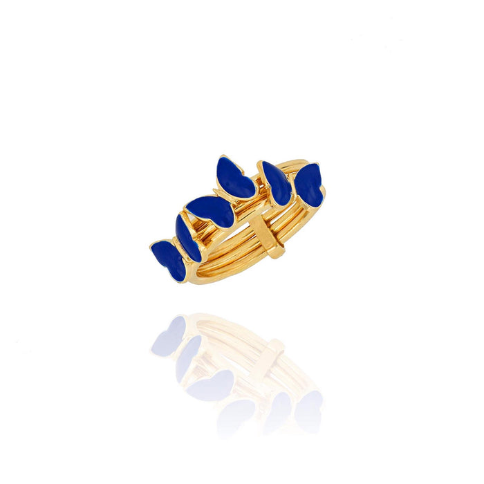 Silver gold plated navy blue triple butterfly ring