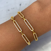 Silver gold plated cz diamond paperclip chain bracelet