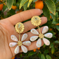 """Daisy"" silver gold plated natural pearl earrings"
