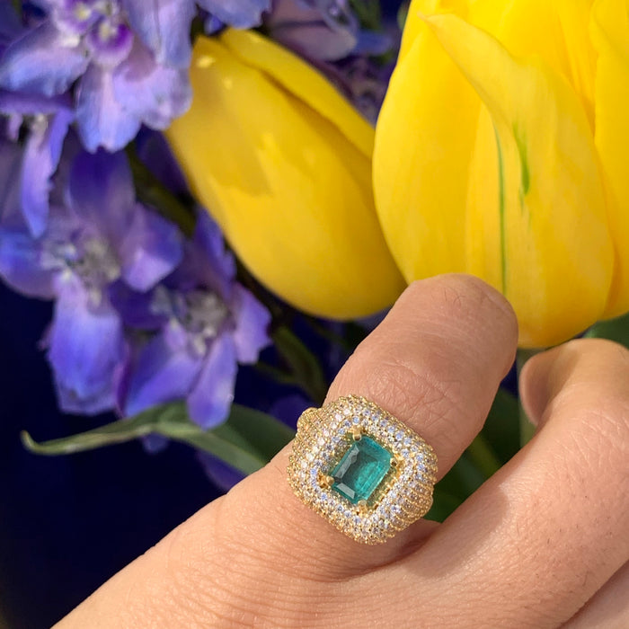 Silver gold plated small emerald square pave signet ring