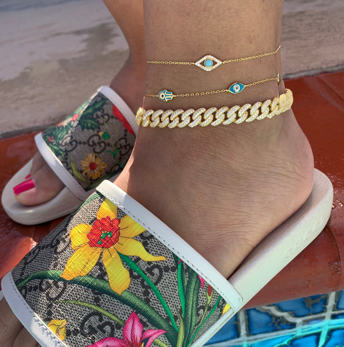 Silver gold plated dainty turquoise eye anklet