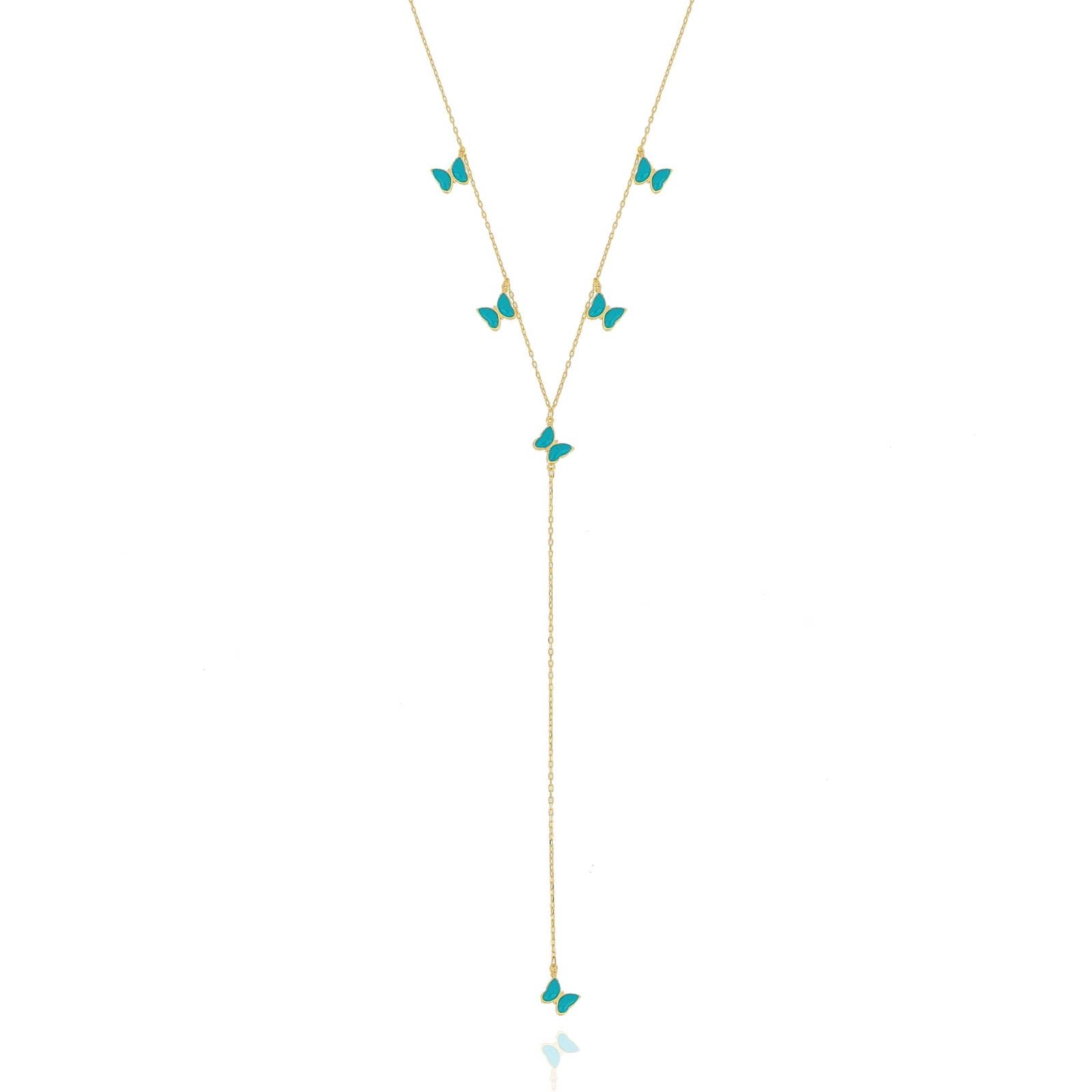 Silver gold plated turquoise enamel butterfly necklace
