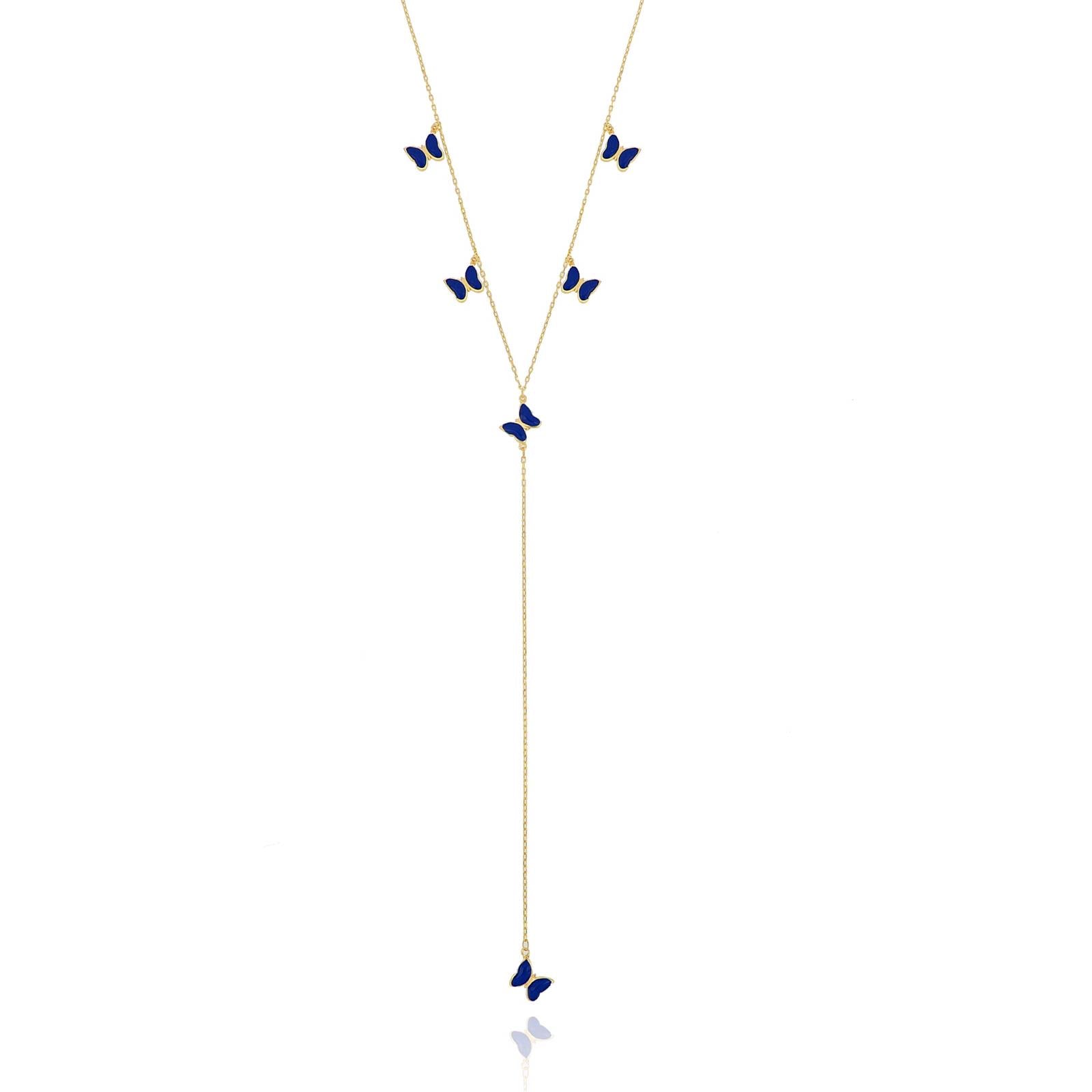 Silver gold plated navy blue enamel butterfly necklace