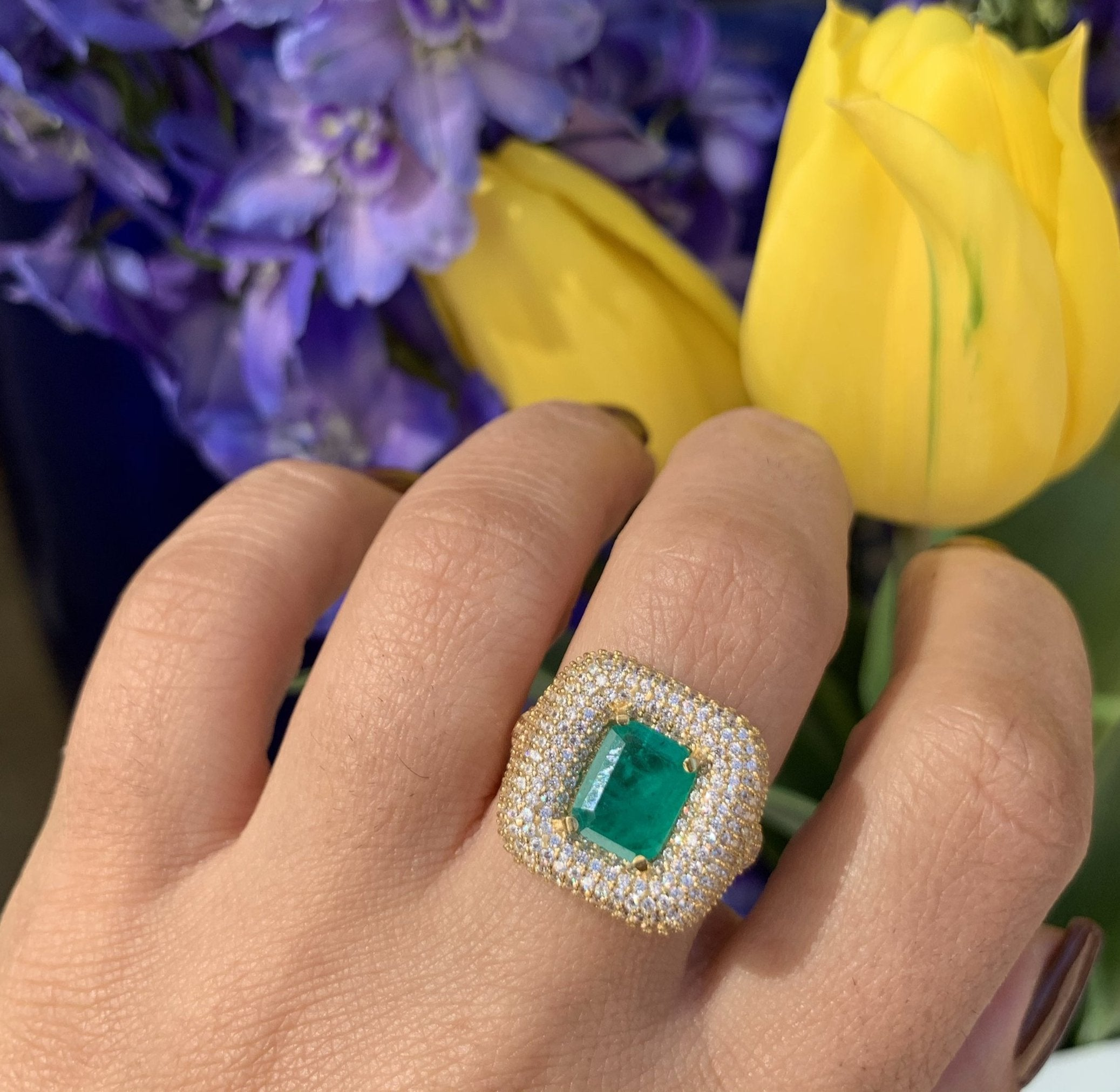 Silver gold plated emerald square pave signet ring