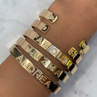 Silver gold plated personalized name cuff