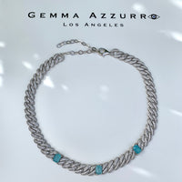 Sterling silver paraiba link choker/necklace