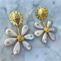 Sterling silver gold plated natural pearl spring flower earrings