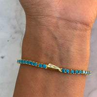 Silver gold plated turquoise tennis bracelet