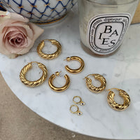 Large 18k gold plated twisted hoops