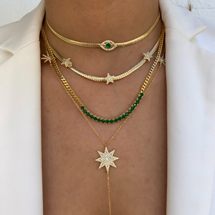 Silver gold plated tennis style emerald link necklace