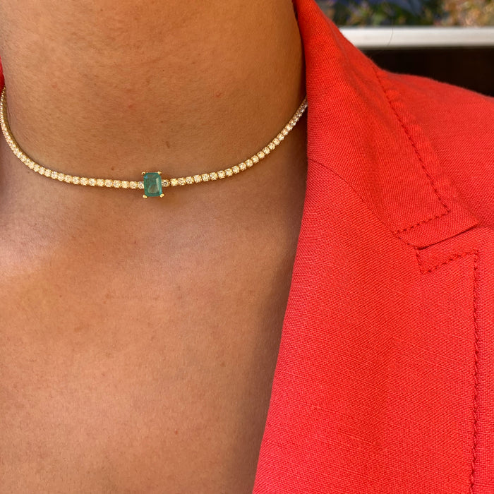 """Empress"" Sterling silver gold plated paraiba choker"
