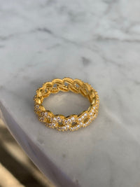 Silver gold plated dainty cuban link ring