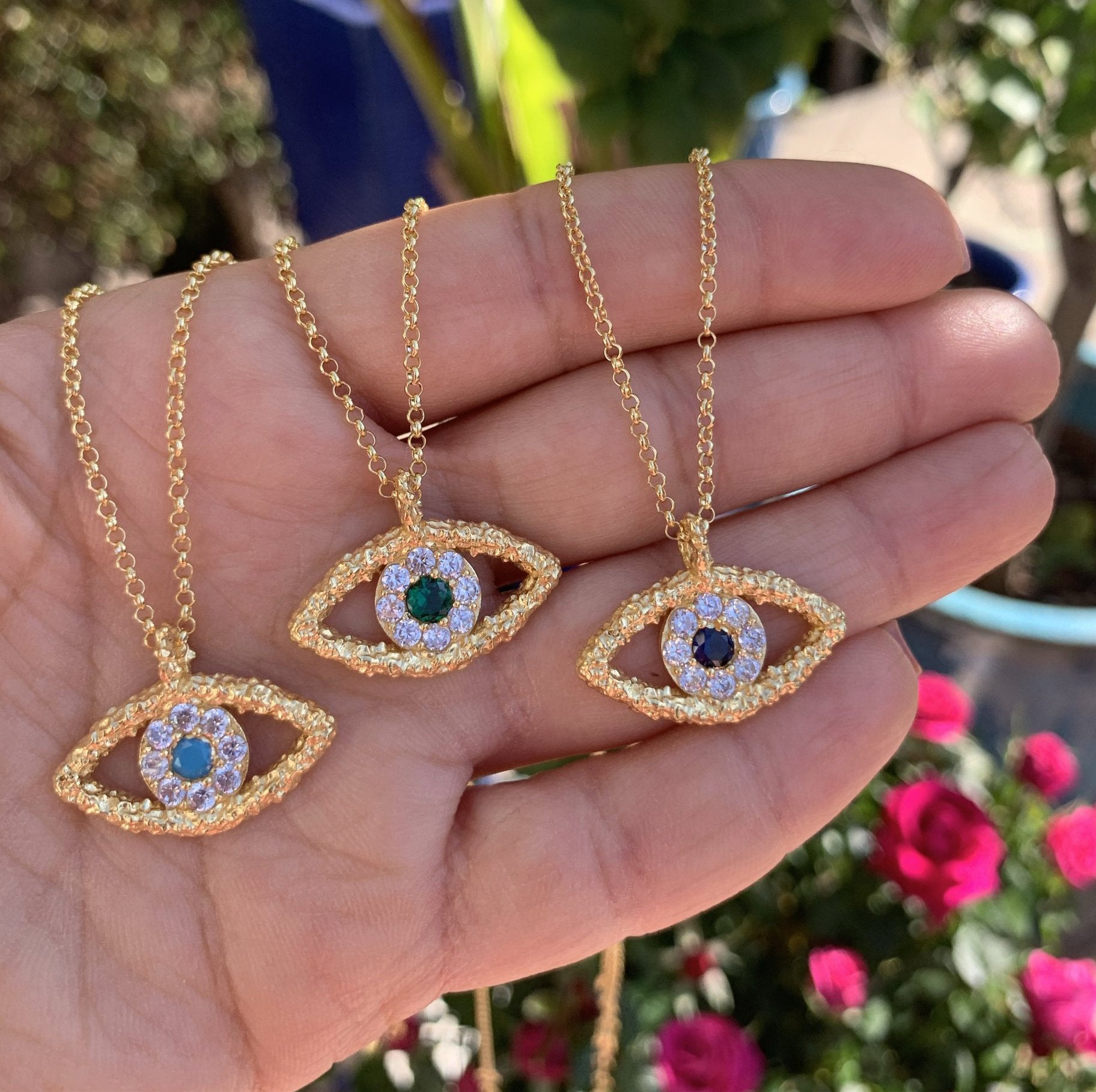 Silver gold plated hammered evil eye necklace