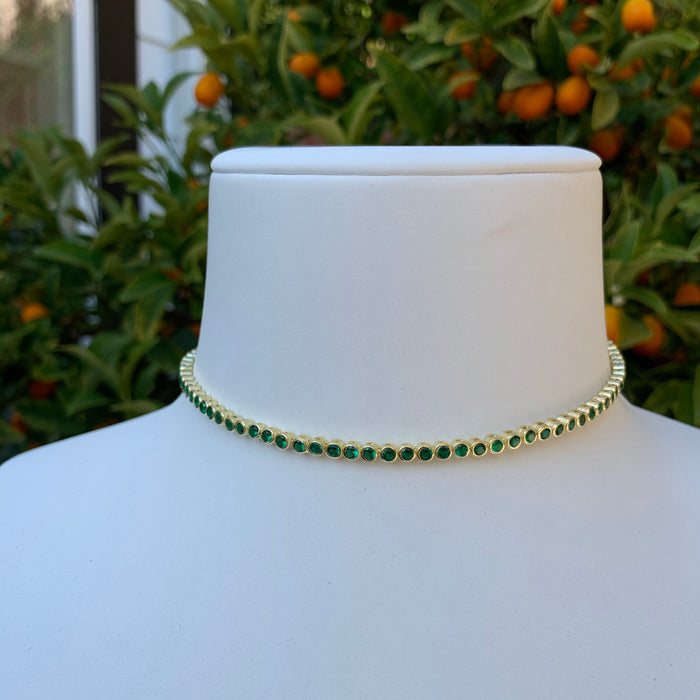 Silver gold plated green bezel tennis choker