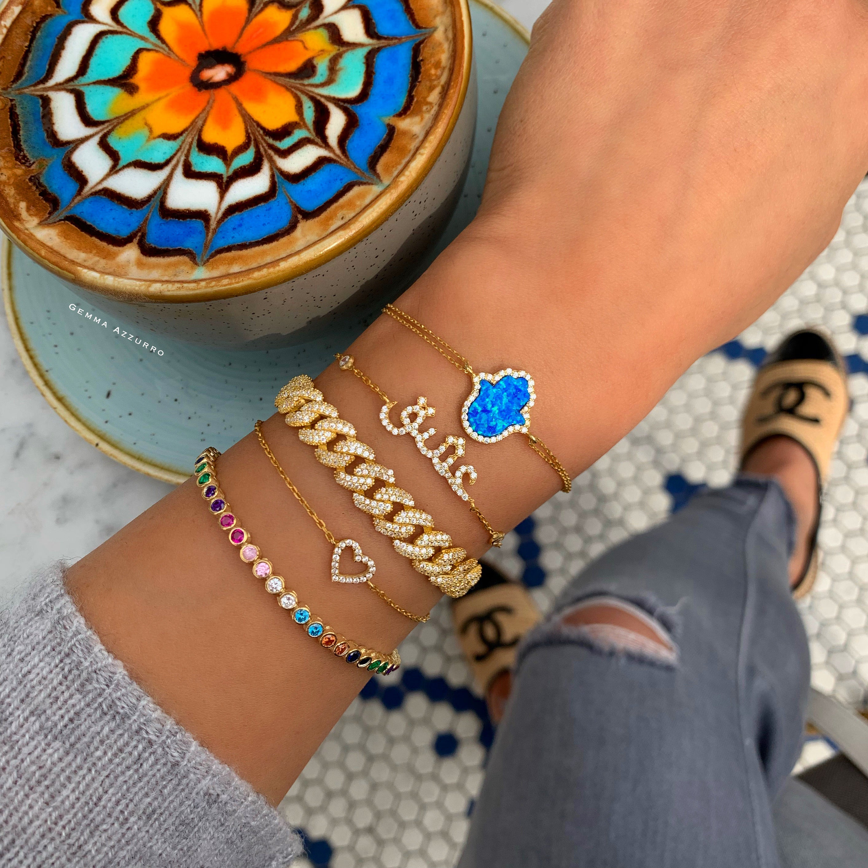 Sterling silver gold plated blue opal hamsa bracelet