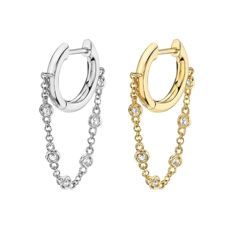 Sterling silver gold plated cz diamond chain huggie earrings