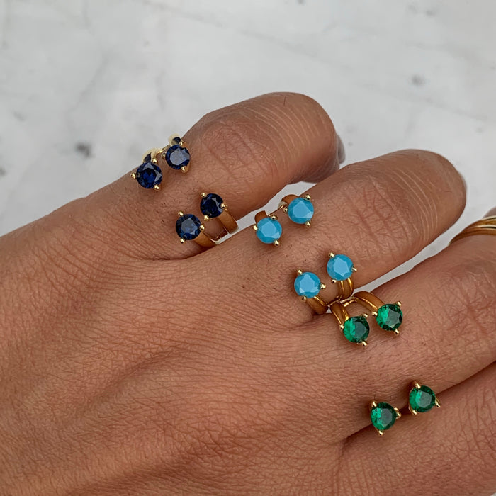 Sterling silver gold plated colorful floating rings