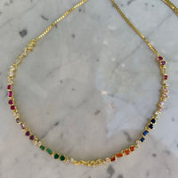 Sterling silver gold plated rainbow baguette choker