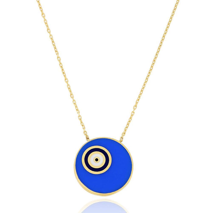 "Silver gold plated round blue ""Nazar"" eye necklace"
