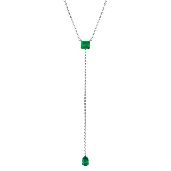 Sterling silver square & pear emerald lariat necklace