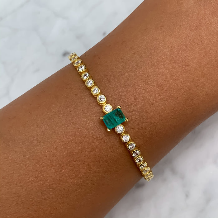 Sterling silver gold plated paraiba tennis bracelet