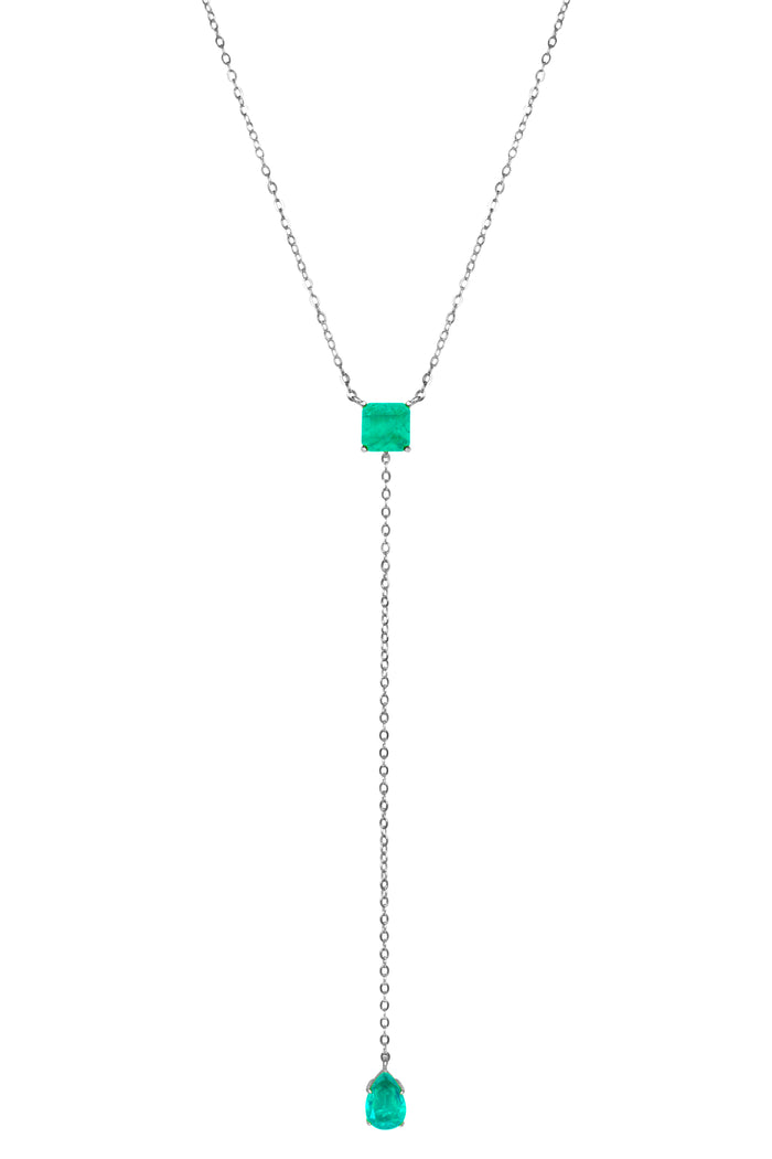 Sterling silver square & pear paraiba lariat necklace