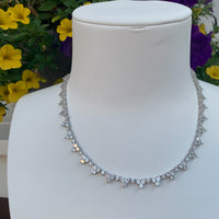 """Grace"" sterling silver all around cz diamond necklace"