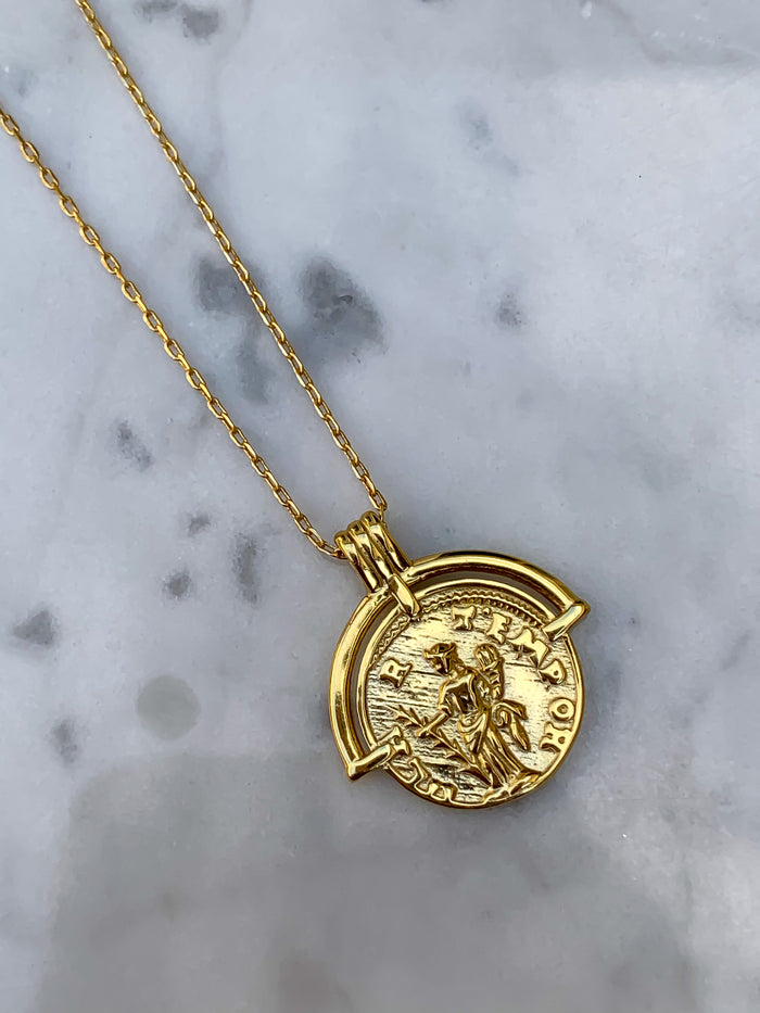 Sterling silver gold plated Greek coin necklace