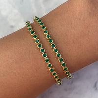Silver gold plated green tennis bracelet