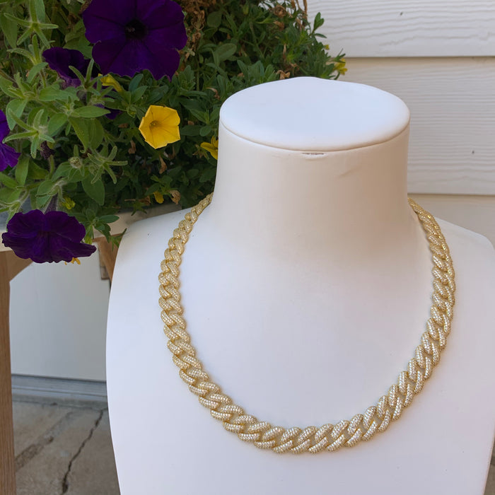 Sterling silver gold plated long link necklace