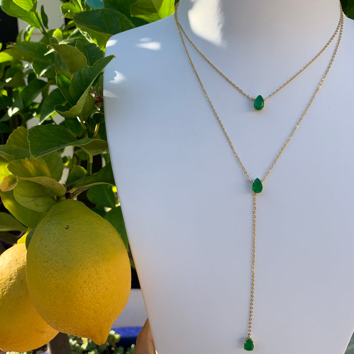 Silver gold plated emerald lariat necklace set