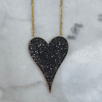 "Silver gold plated ""Amore"" LARGE heart necklaces"