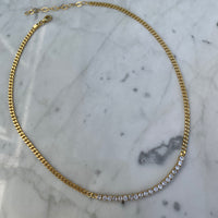 Silver gold plated tennis style cz diamond link necklace