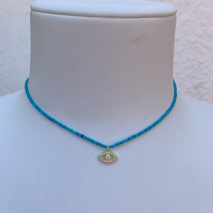 Natural turquoise beaded evil eye necklace