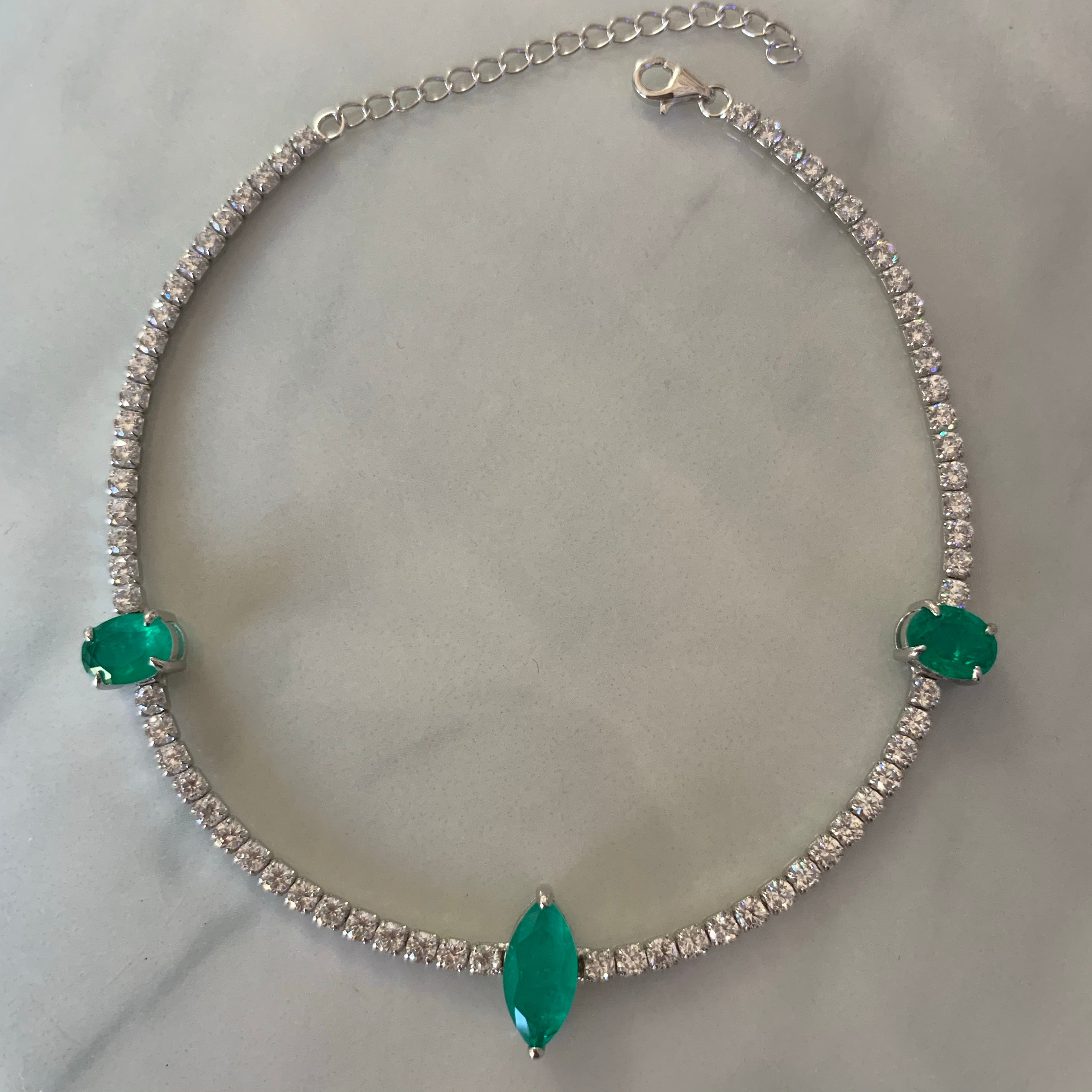 Sterling silver paraiba anklets