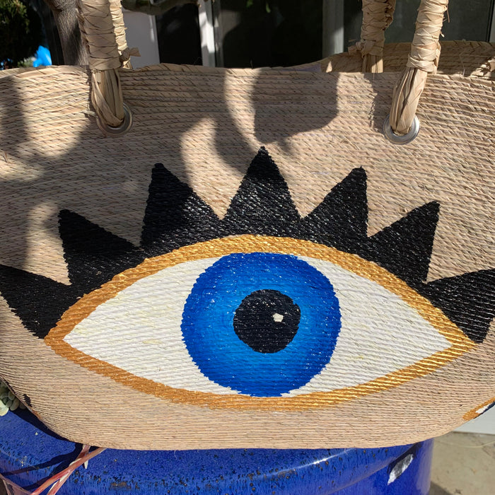 "PRE-ORDER ""Mykonos"" Hand painted eye beach tote bag"