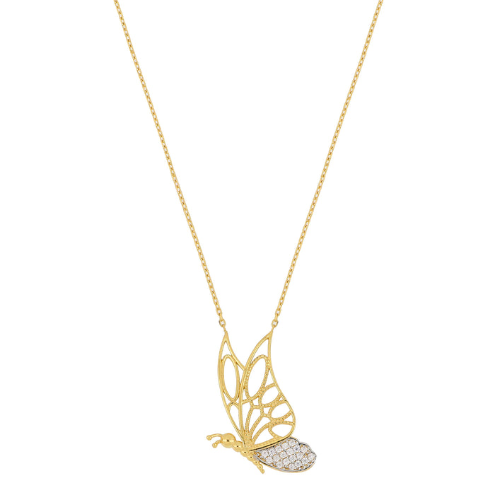 Silver gold plated pave cz diamond butterfly necklace