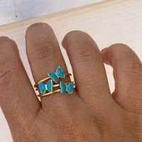 Silver gold plated turquoise triple butterfly ring