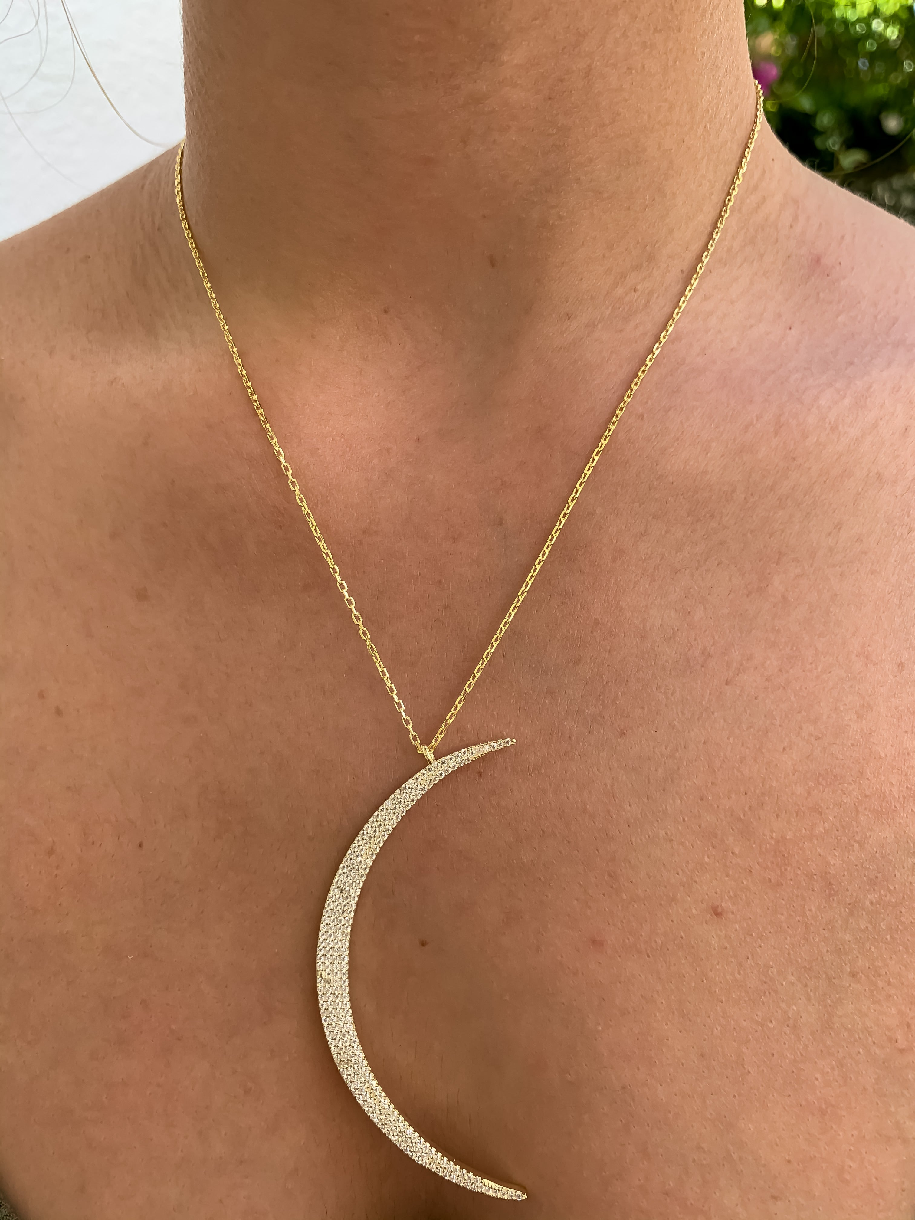Silver gold plated crescent moon necklace