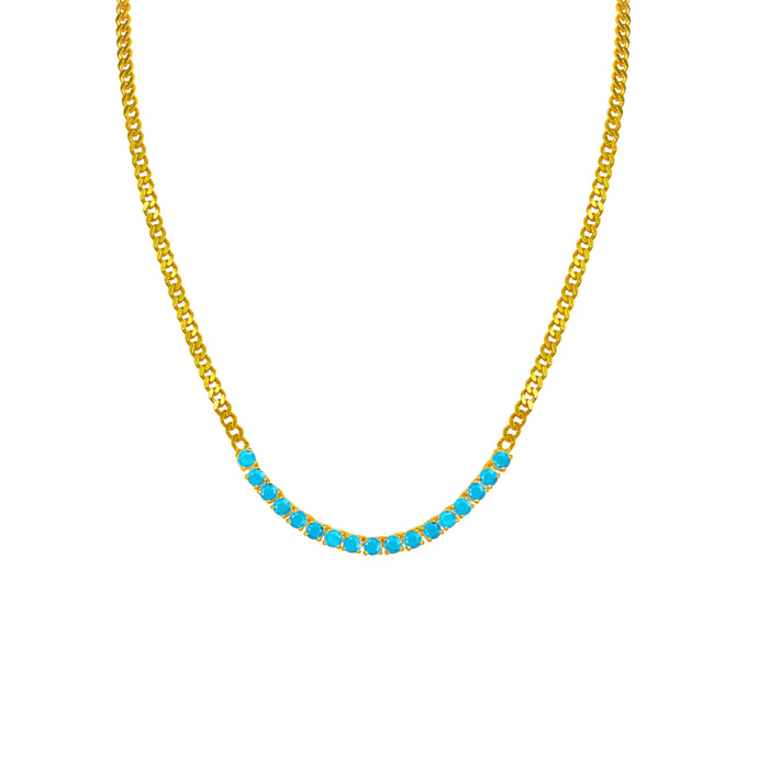 Silver gold plated tennis style turquoise link necklace