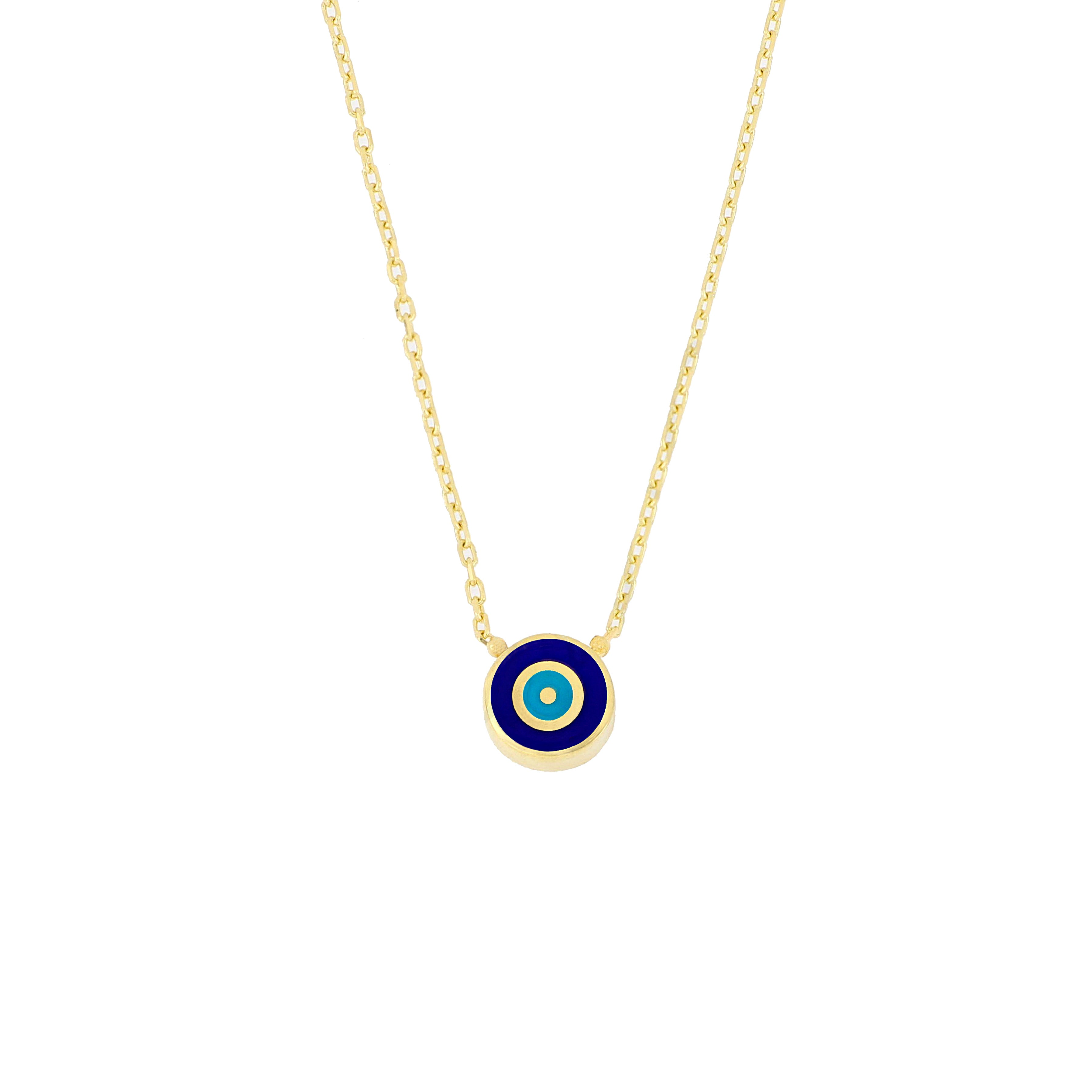 "Sterling silver gold plated mini navy ""Nazar"" eye necklace"