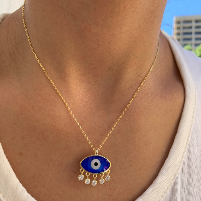 Sterling silver gold plated Mediterranean eye necklace