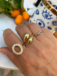 Sterling silver gold plated pearl oval pearl ring