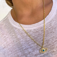 Silver gold plated long turquoise eye necklace