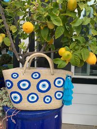 """Oia"" Hand painted eye beach bag"