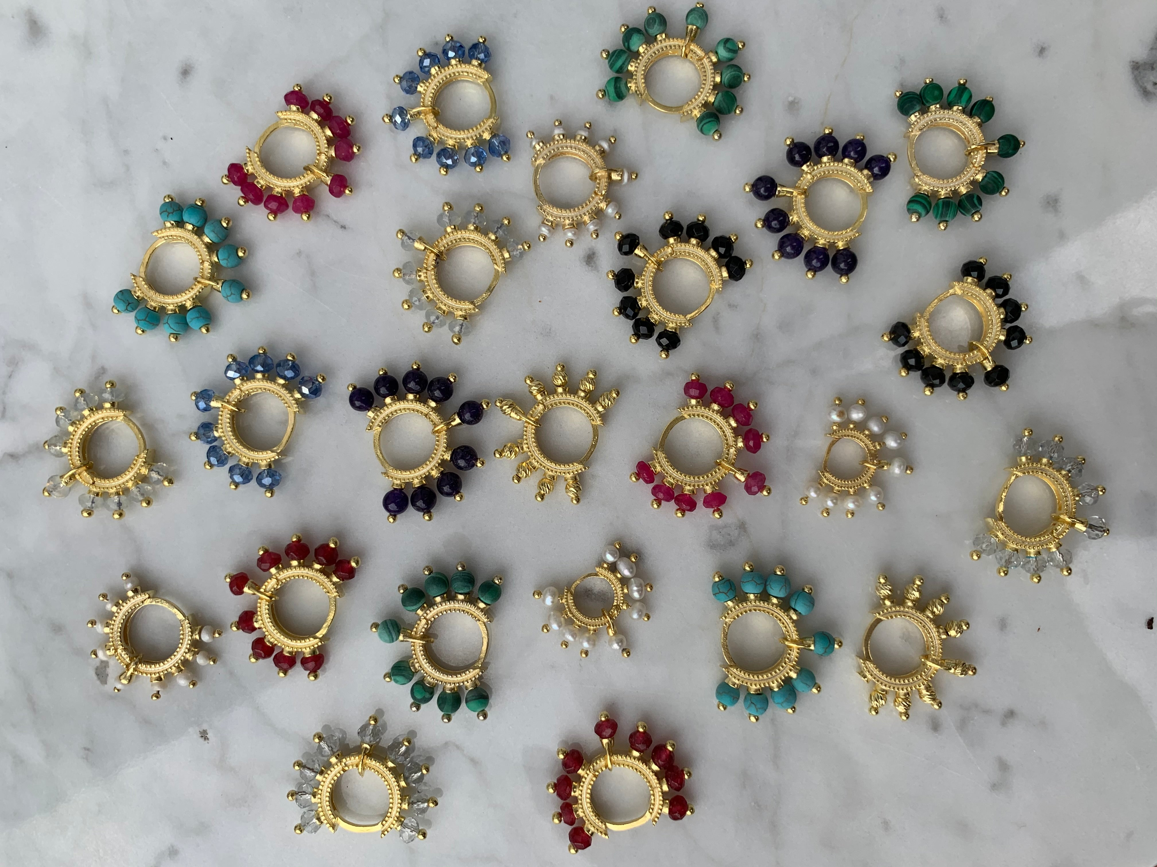 """Candy"" silver gold plated stone bead hoops"