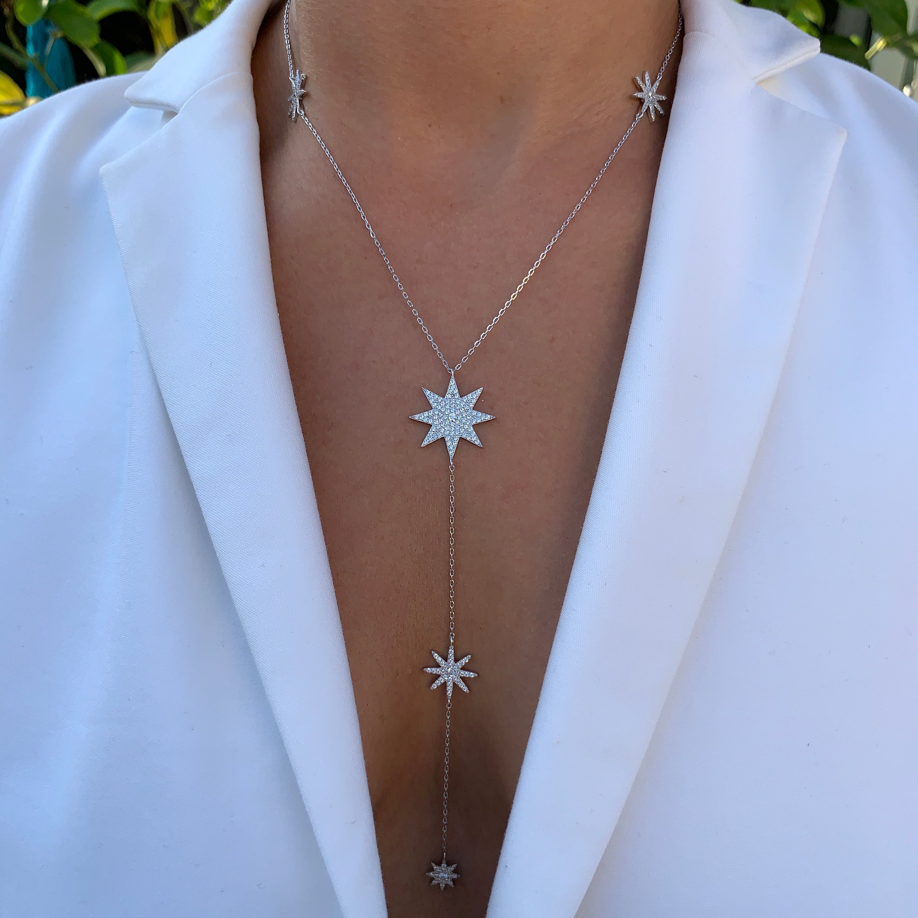 Sterling silver star lariat necklace