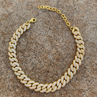 Sterling silver cuban link chain anklets