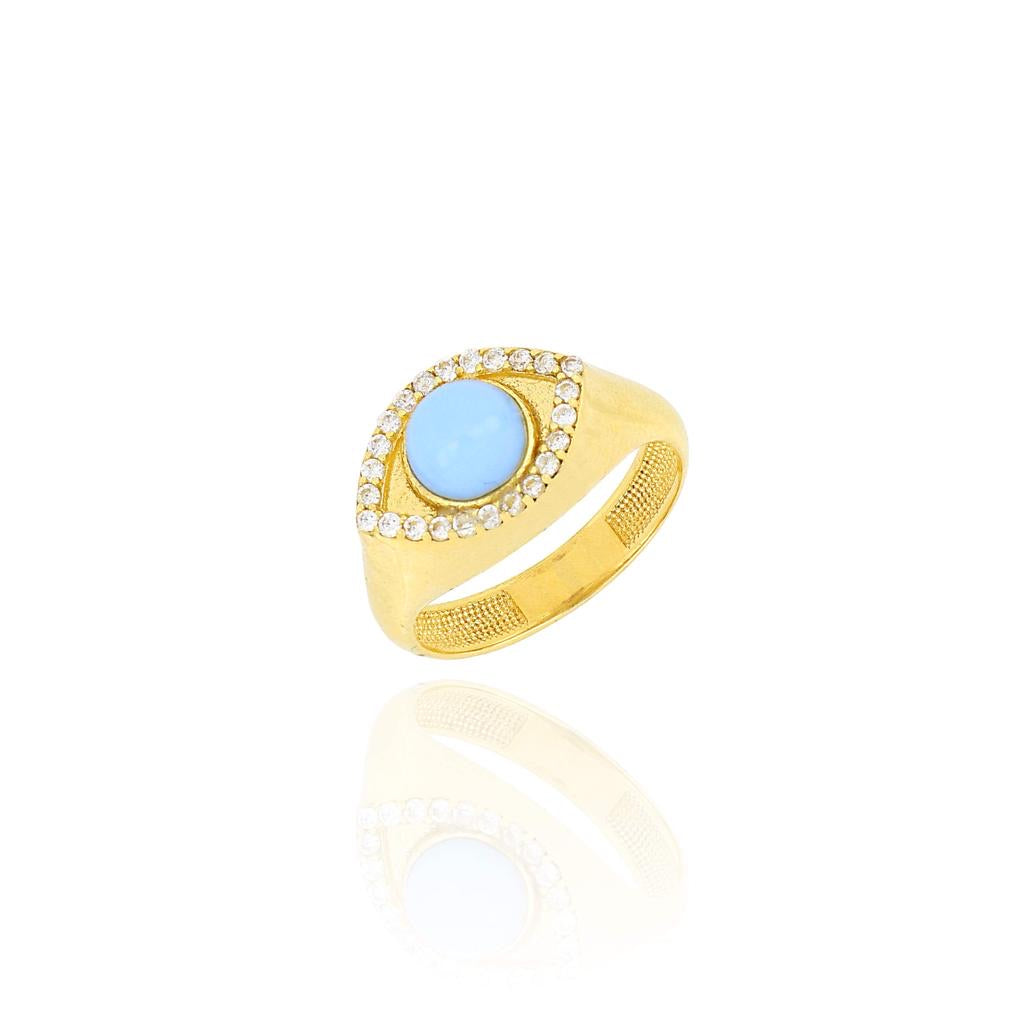 Silver 18k gold plated turquoise eye ring